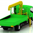 Green truck with a yellow crane — Stock Photo #26496393