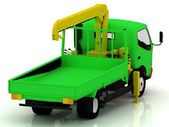 Caminhão verde com um guindaste amarelo — Fotografia Stock
