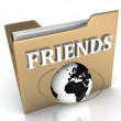Stock Photo: FRIENDS bright white letters on golden folder