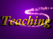 Teaching 3d inscription with luminous line with spark — Stock Photo