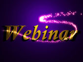 Webinar 3d inscription with luminous line with spark — Stockfoto