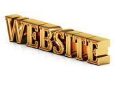 3d inscription WEBSITE golden bright letter — Stock Photo