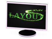 LAYOUT- 3d inscription with luminous line with spark — Stok fotoğraf