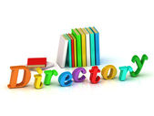 Directory inscription bright volume letter and textbooks — Stock Photo