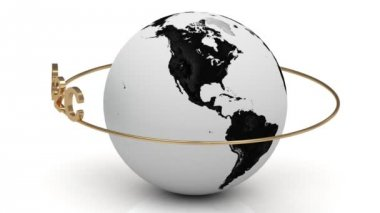 B2C on a gold ring rotates around the earth — Stock Video
