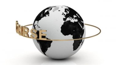 Course on a gold ring rotates around the earth — Stock Video