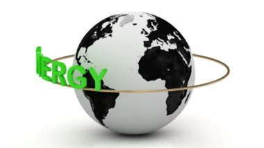Green energy on a gold ring rotates around the earth — Stock Video