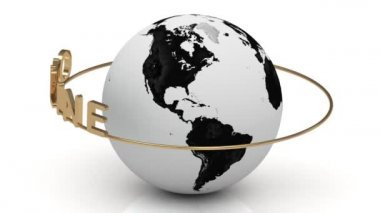 Online na złoty pierścień obraca się wokół ziemi — Wideo stockowe