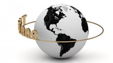 Rotating earth and the inscription gold lettering TOP 1000 around the earth on a gold — Stock Video