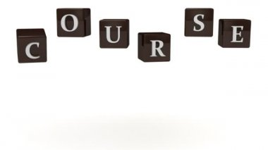 COURSE inscription white letters on brown cubes rotating in the air — Stockvideo