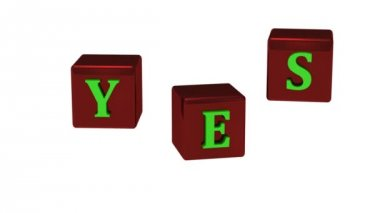 YES message with bright green letters on copper red dice rotating — Stock Video