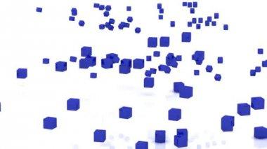 Wi fi de rotación de cubos con antenas sobre un fondo blanco — Vídeo de stock