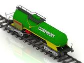 Railway wagon of the wanted colour with white inscription Confident — Stock Photo