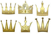 Set of gold crowns from gold — Stock Photo