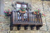 Old Balcony with flower — Stock Photo