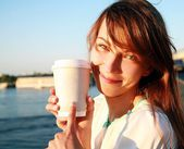 Pretty woman with coffee — Stock Photo