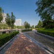 Beautiful park beside soho buildings in Beijing — Stock Photo