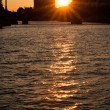 Seine river in the sunset — Foto Stock