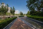 Beautiful park beside soho buildings in Beijing — Stock Photo