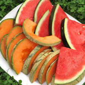 Red and orange melon on a plate — Stock Photo