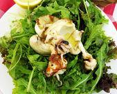 Italiaanse gegrilde inktvis op rucola salade — Stockfoto