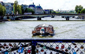 Paris from the love bridge, in front of Notre Dame — Stock Photo