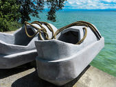 Concrete shoes sculpture in the park on the island of Mainau, Germany — Stock Photo