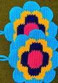Crochet potholder, colorful flower — Stock Photo