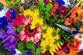 Bouquet of multicolored exotic flowers — Стоковое фото