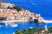 The bay of Collioure with church Notre-Dame des Anges, Southern France — Stock Photo
