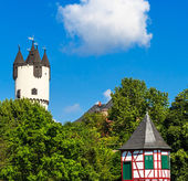 Castle Park with Donjon tower and Customs Tower in Hanau-Steinheim, Germany — Stock Photo