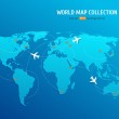 ������, ������: Vector World map with airways