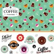 Coffee set of seamless pattern and labels — Imagen vectorial
