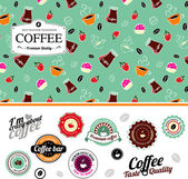 Coffee set of seamless pattern and labels — Stock Vector