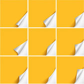 Six curved corners on yellow sheets — Stock Vector