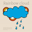 Engraving cloud with rain drops. — Stock Vector
