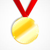 Blank round polished gold metal badge with red ribbon — Vettoriale Stock
