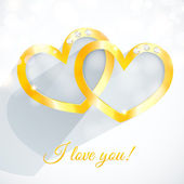 Vector golden heart with gems and flat shadow. — Stock Vector