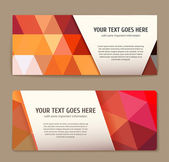 Set of colorful banners with triangle pattern. — Stock Vector
