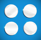 Set of blank round polished silver metal badges — Stockvector