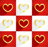 Vector golden heart with gems and flat shadow. — Stockvector