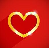 Vector gouden hart met edelstenen en platte schaduw. rode achtergrond. — Stockvector