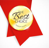 Blank round polished gold metal badge with red ribbon — Vector de stock