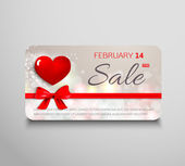 Elegant presentkort säljes med rött hjärta, band och present rosett — Stockvektor