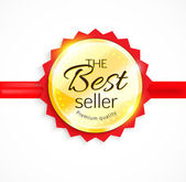 Vector Best Seller gold sign with red ribbon — 图库矢量图片