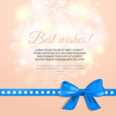 Abstract greeting card with blue gift bow and ribbon. — Stock Vector