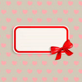 Vector elegant vintage card with red bow — Vecteur