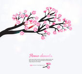 Spring card with stylized pink cherry blossom. — Stock Vector