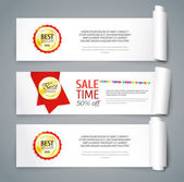 Set of paper banners with curved sides — Stock Vector