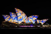 сидней оперный театр ночью яркий фестиваль света — Стоковое фото